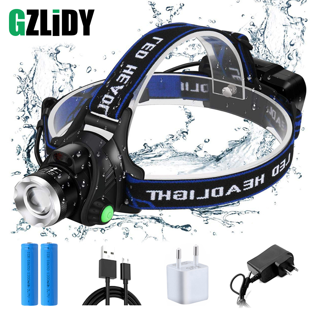 Super Bright LED Headlamp Induction Switch Fishing Headlight Support Zoom 3 Lighting Mode Powered By 2x18650 Batteries