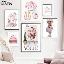 Toile de peinture de fleur de pivoine pour fille, Art mural, chaussures de parfum, affiches et imprimés en Vogue, photo moderne de Paris pour chambre de femme