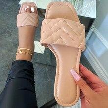 Zapatillas de marca para mujer, Sandalias planas de cuero PU con punta cuadrada a la moda, zapatillas informales para exteriores, chanclas, 2021