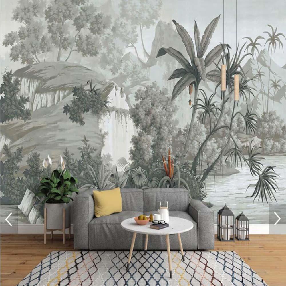 Monochrome Tropical Banana Leaves Wall Mural Black White Landscape Wall Paper For Living Room Study Room Photo Wallpaper Murals