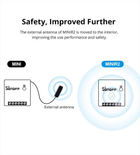 SONOFF-enchufe inteligente eWeLink MINIR2, interruptor inteligente bidireccional, CA 100-240V, funciona con Google Home y Alexa 5
