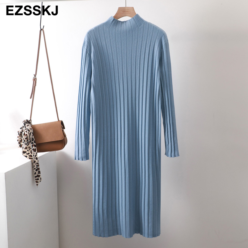 chic oversize thick long sweater dress women Half-high autumn winter straight sweater dress female casual loose knit dress