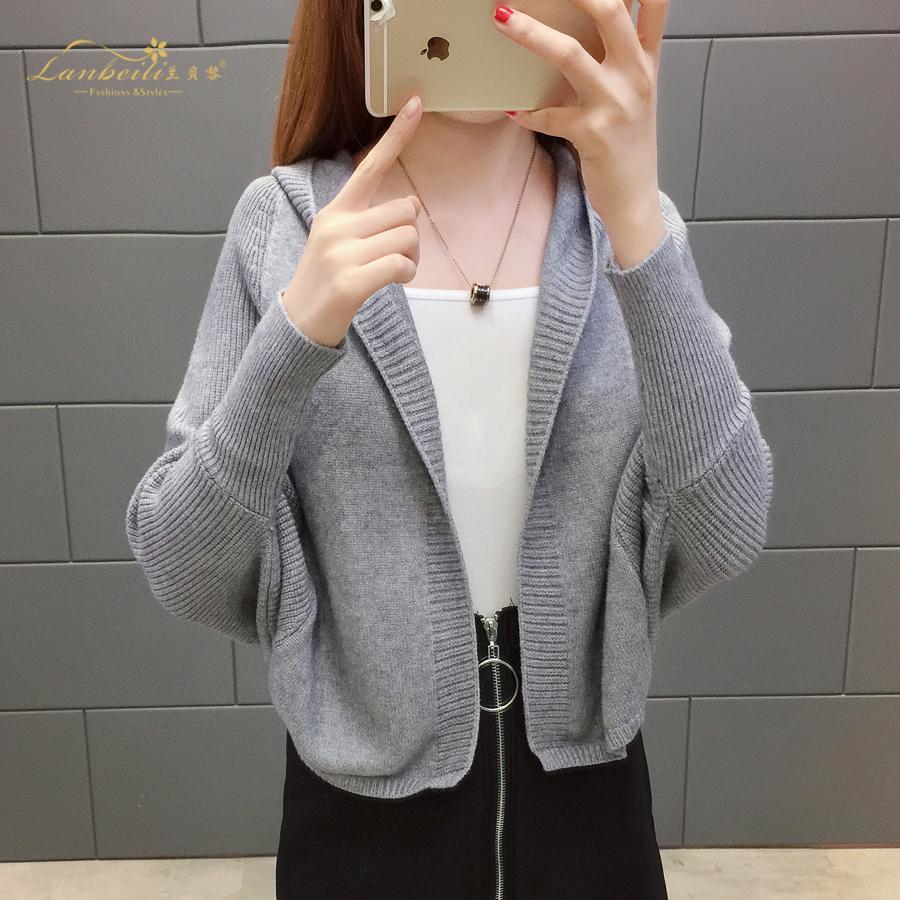 2019 Free send New style Korean loose and comfortable Autumn women Cardigan Sleeve of bat Hooded Sweater coat 104