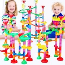 Diy pista tubo blocos de construção para crianças bola circuito mármore corrida labirinto bolas brinquedos educativos presente e blocos