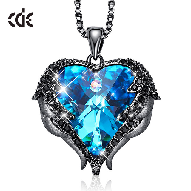 CDE Original Design Angel Wings Embellished with Crystals from Swarovski Heart Shape Pendant Necklace Jewelry Valentine's Gift|Pendant Necklaces|   -