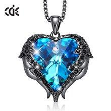 CDE diseño Original de alas de Ángel embellecidas con cristales de Swarovski, colgante en forma de corazón, collar, joyería, regalo de San Valentín