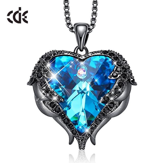 CDE המקורי עיצוב מלאך כנפי קשט עם קריסטלים סברובסקי לב צורת תליון שרשרת תכשיטי האהבה מתנה