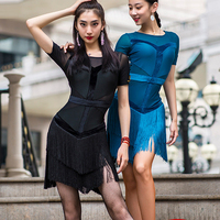Latin Practice Wear For Woman Charleston Dancing Gatsby Dress Sexy Fringe Short Sleeved Latino Dance Dresses For Girls DWY2219
