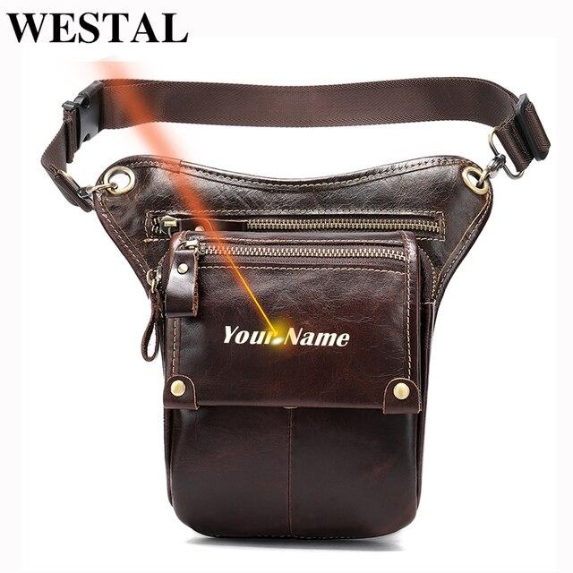 WESTAL Echtem Leder bein tasche in Taille Pack motorrad Fanny Pack Gürtel Taschen Telefon Beutel Reise Männlichen Kleine bein tasche taktische 3237