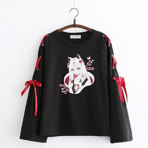 2020 Spring Autumn Japanese Long Sleeve T Shirt Cartoon Printed Tshirt Harajuku Cross Bowknot Bandage T-Shirts White Black Tops