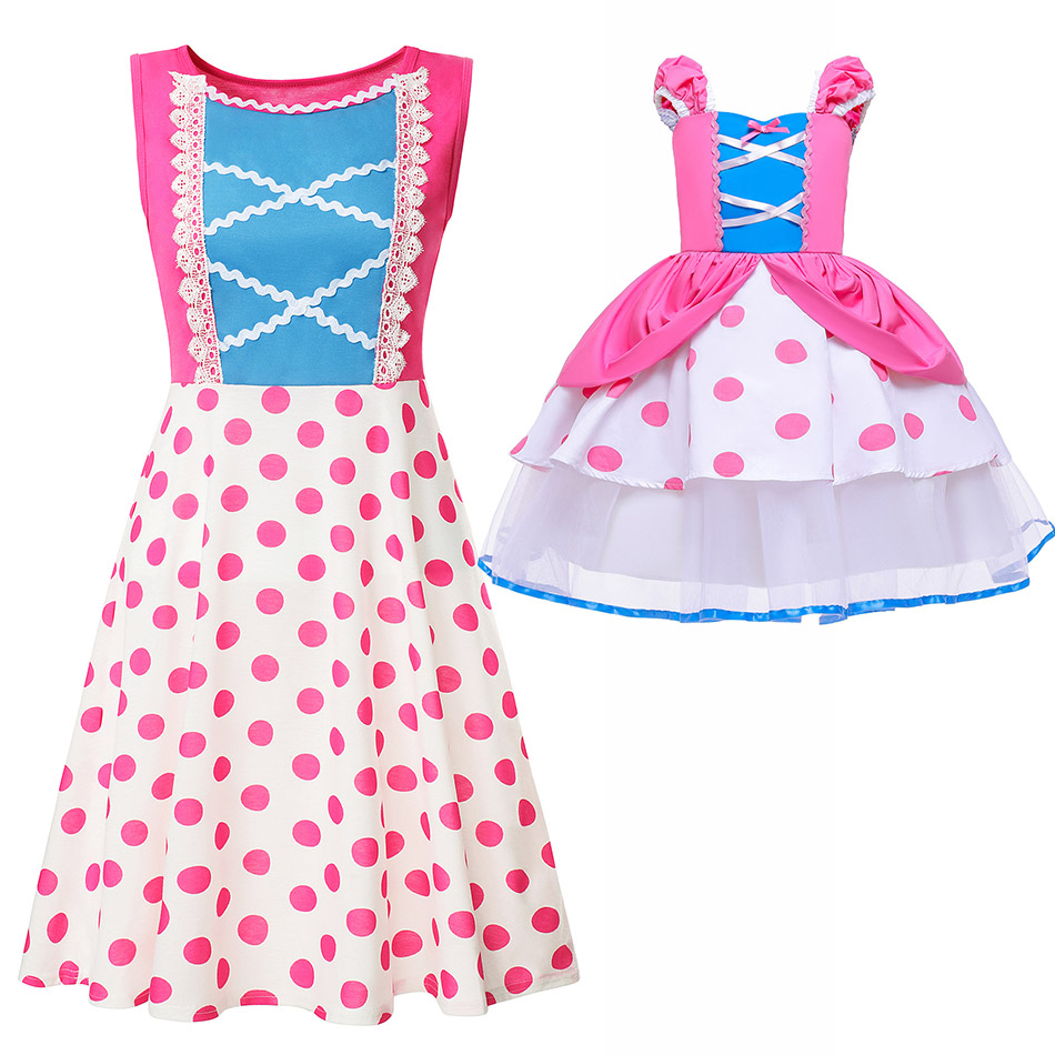 Mommy and Me Bo Peep Dress Story of Toys Shepherd Costume Cute Polka Dot Party Frocks for Kids Adult Mother Daughter Summer Robe