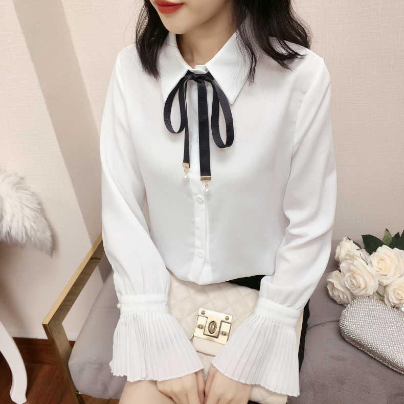 Женские топы с длинным рукавом из шифона в Корейском стиле, новинка 2019, элегантные женские шифоновые блузки с бантом, рубашки, женская одежда, Повседневная Блузка 664A60