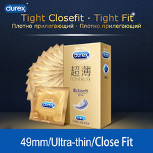 Durex Fetherlite Closefit Condoms 49mm Tight Ultra Thin Sleeve for Men Extra Lubricant Rubber Condom for Adult Intimate Product