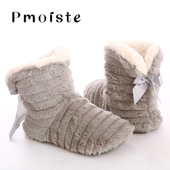 Indoor slippers women winter fur slippers home butterfly knot non slip warm plush house slippers women flock Floor Flat Shoes women slippers indoor shoes winter soft home slippers plush warm non slip fur shoes flat casual female