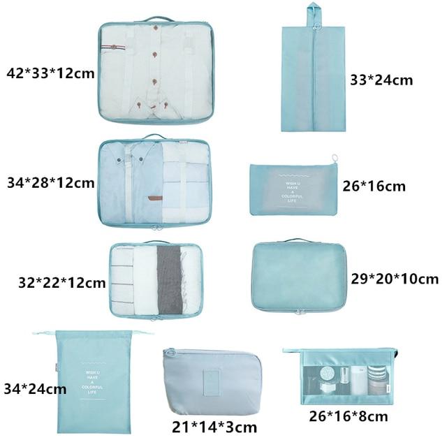 9 pieces set travel organizer storage bags