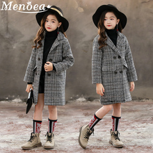 Menoea Girls Coats 2019 Autumn And Winter Korean Version Gray Plaid Houndstooth Outerwear Big Childrens Woolen Coat Clothes