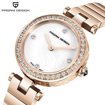 2020 PAGANI DESIGN Fashion Women WristWatch Reloj Mujer Diamond Bling Stainless Steel Analog Quartz Design Creative Lady Watches