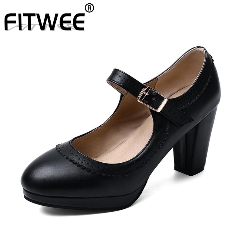 FITWEE 6 Color Women Pumps Spring New Fashion Ruffles High Heel Shoes Women Round Toe Casual Party Platform Footwear 32-48