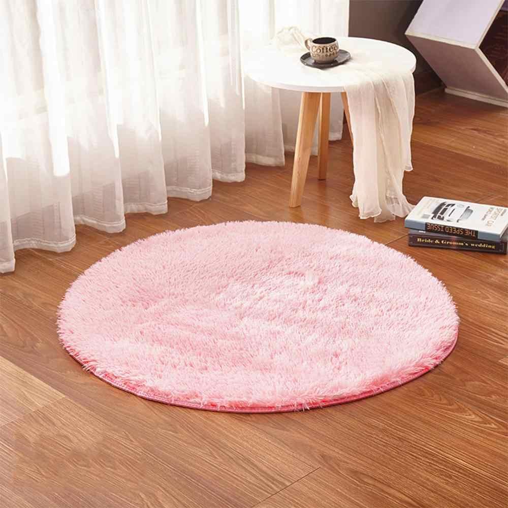 RULDGEE 푹신한 라운드 Alfombra 거실 가짜 모피 카펫 키즈 침실 플러시 얽히고 설킨 컴퓨터 의자 실내 장식 영역 러그 매트