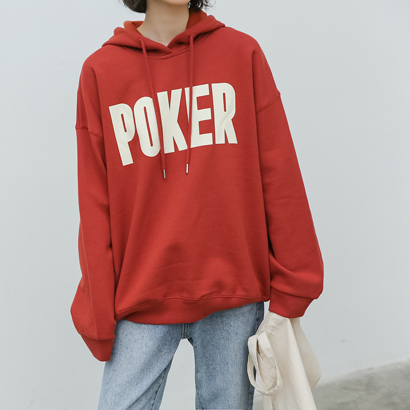 Autumn Winter Fleece POKER Harajuku Print Pullover Thick Loose Women Hoodies Sweatshirt Female Casual Oversize Coat
