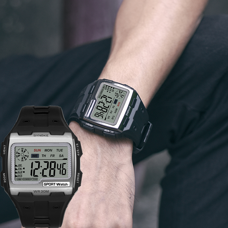 SYNOKE Men Women Digital Watches New Arrival Big Square Dial Alarm Week Resistant Chronograph Multi function Digital Sport Watch Digital Watches    - AliExpress