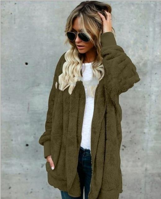 KAYOULAI S-5XL Big Size Winter Coat Women Fur Cardigan Jacket Long Sides Both Side Wearing Faur Fur Coat Teddy Coat