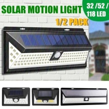 Junejour Motion Sensor Detector Solar Lights 32/52/118LED Wall Solar Light Outdoor Security Lighting Nightlight IP65