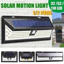 Junejour Motion Sensor Detector Solar Lights 32/52/118LED Wall Solar Light Outdoor Security Lighting Nightlight IP65
