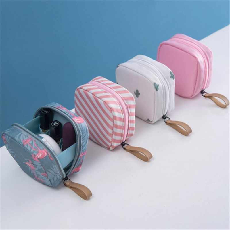 1pc Travel Mini Solid Stripe Toiletry Flamingo Cosmetic Bag Make up Storage Bag Organizer Cactus Cosmetic Case Beauty Makeup Bag