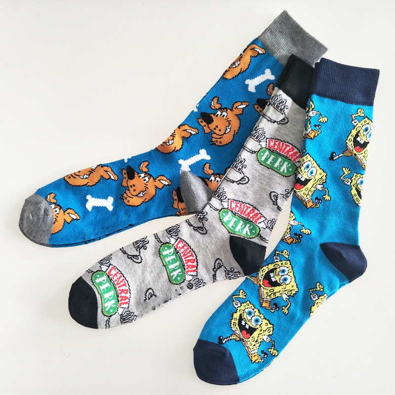 Personality Letter Dog Happy Compression Crew Socks Men Cotton Warm Cartoon Funny Novelty Streetwear Mens Sock Harajuku Casual