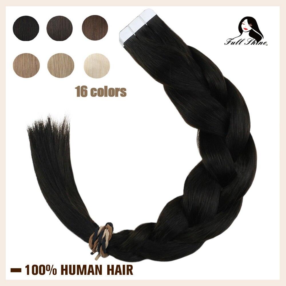 Fita completa do brilho em extensões do cabelo humano puro loira cabelo colorido 20 pces cola da trama da pele adesiva na máquina do cabelo feita remy