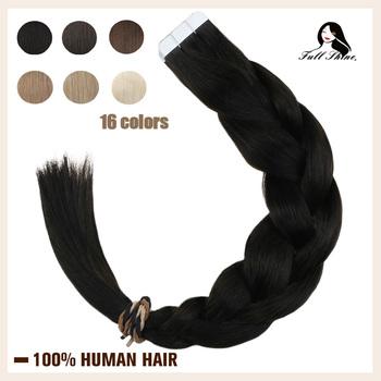 Pełna połysk taśmy w doczepy z ludzkich włosów czysta blondynka kolorowe włosy 20 sztuk klej skóry wątek klej na włosy maszyna wykonane Remy tanie i dobre opinie Full Shine 2 5 g sztuka TP-Pure Color-50g Nie remy włosy Darker Color Only Brazilian Hair 50 Gram 20 Pieces At Least 60 Pcs are Suggest