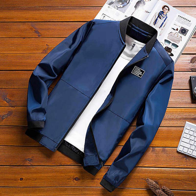 חדש חורף סתיו Mens מפציץ מעיל צווארון עומד מקרית מעיל רוח זכר כחול בייסבול מעילי גברים דק באיכות גבוהה גודל M-4XL