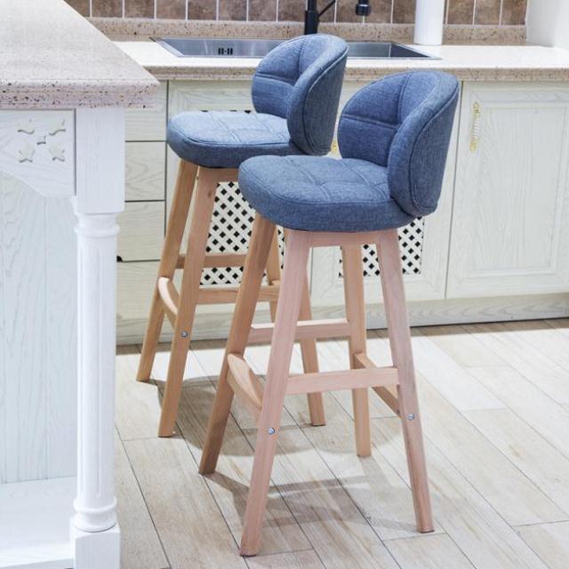 Bar Chair Modern Minimalist Solid Wood Bar Stool High Stool Creative Bar Stool Nordic Home High Stool