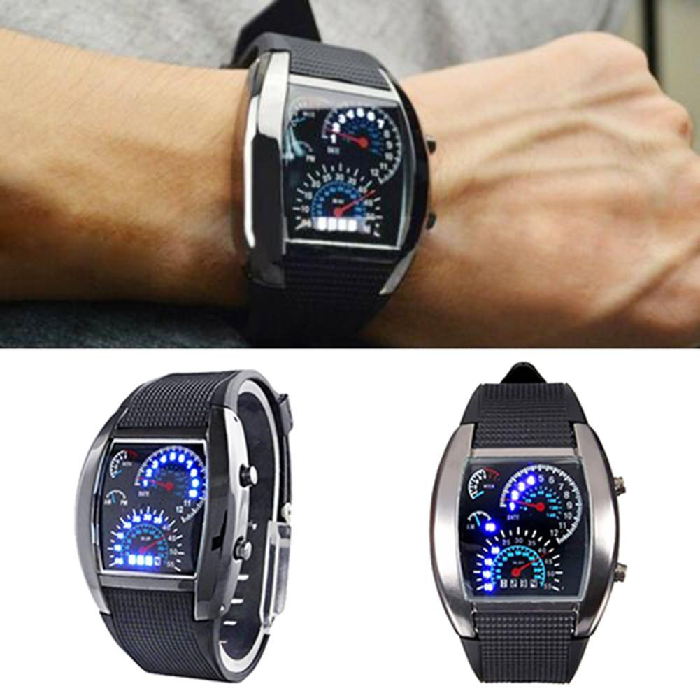 Men Square Dial Dual Time Day Display Silicone Strap LED Sports Clock Electronic Wrist Watch New Reloj Hombre Mas-culino Fashion
