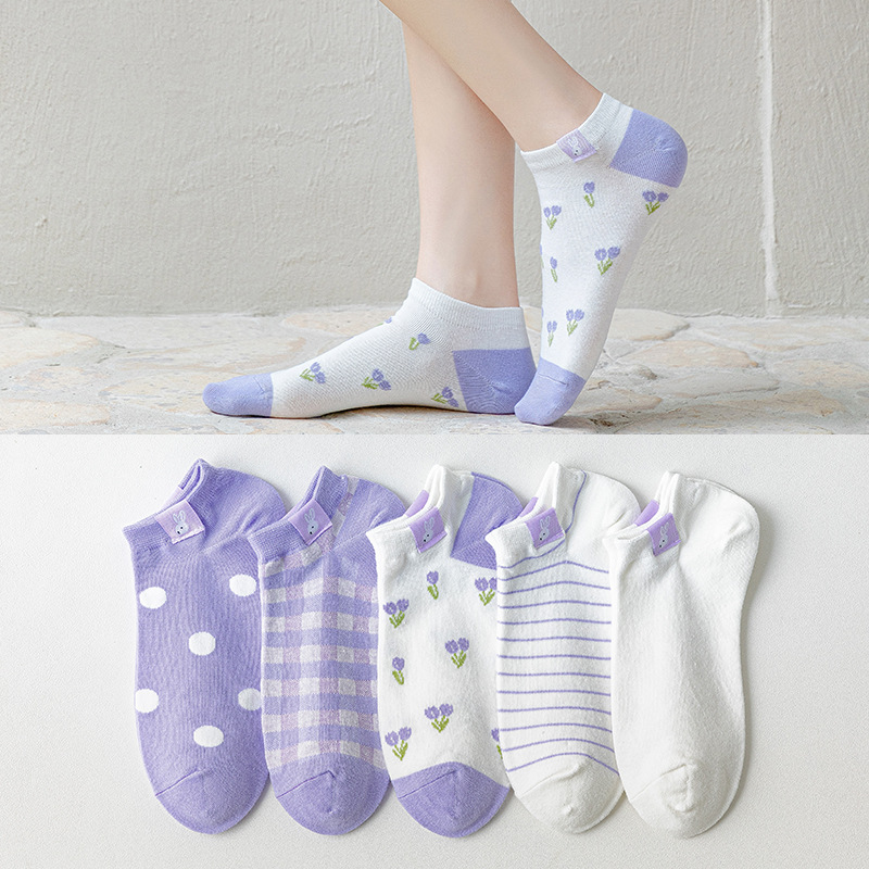 The New Women Purple Cotton Breathable Short Heel Boat Socks Personalized Shallow Mouth Rabbit Cloth Label Embroidery Female