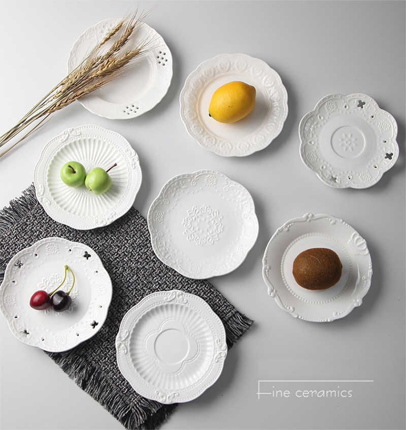 6 인치, 흰색 양각 도자기 서빙 접시, 세라믹 주방 접시, 장식 웨딩 플레이트, 파티 뷔페 과일 접시