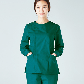 Women's Fashion Long Sleeves Medical Scrubs Set Pure Cotton Side Opening Front with Zipper and Scrub Pants Nursing Uniforms