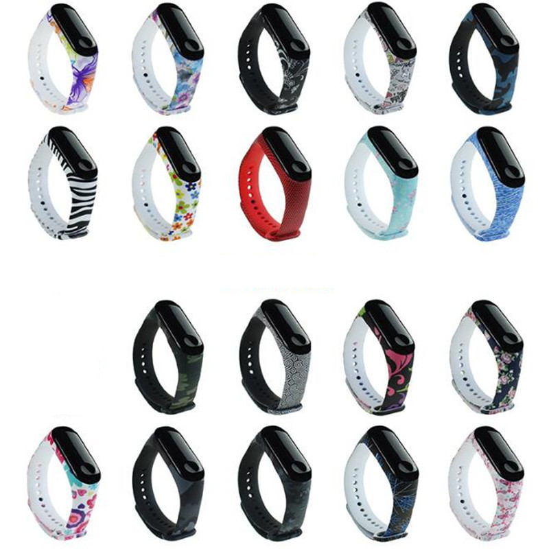 Marble For Mi Band 4 3 Strap Print Silicone Wrist Strap For Xiaomi Mi Band 3 Replacemet Flower Wristband For Mi Band 3 Bracelet
