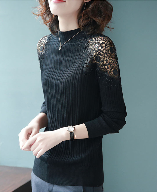 Women Spring Autumn Style Knitted Blouses Shirts Lady Casual Turtleneck Lace Decor Blusas Tops DD8043 4