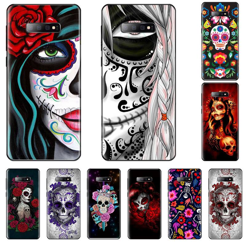 Mexican Skull Girl Tattooed Art Silicone Phone Case Cover For Samsung S6 S7 edge S8 S9 S10 e plus A10 A50 A70 note8 J7 2017 image