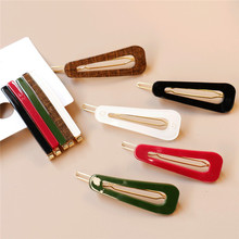 1 PC Women Resin Long Colorful Barrette Elegant Hair Clip Metal Hairpin Accessories