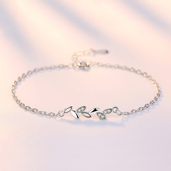 Lucky With Tree Leaves Silver Jewelry Ladies Bracelets Japanese and Korean Version Simple Jewelry Accessories Couple Bracelets