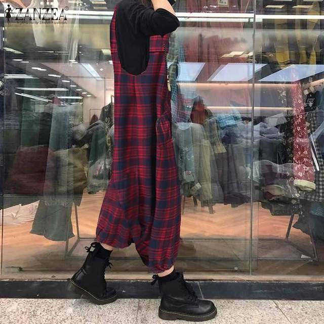ZANZEA Summer Sleeveless Drop Crotch Overalls Women Jumpsuits Vintage Plaid Checked Rompers Baggy Loose Suspenders Lantern Pants 2