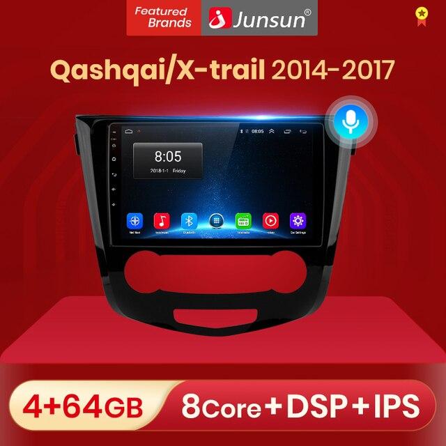 Junsun 4G + 64G אנדרואיד 10 עבור ניסן הקאשקאי X שביל 2014   2017 אוטומטי 2 דין רכב רדיו סטריאו נגן Bluetooth GPS לא 2din dvd