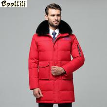 Boollili Men #8217 s Down Jacket Long Winter Coat Men Real Fox Fur Collar Plus Size Puffer Jacket Warm Doudoune Homme cheap REGULAR 8188-8 Casual zipper Full Pockets Thick (Winter) Canvas Polyester White duck down Collar Detachable Hat Detachable