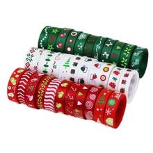 """(10 ribbons mixed) 3/8""""(10mm) Top Quality Satin Printed Christmas ribbon gift ribbons Wholesale"""