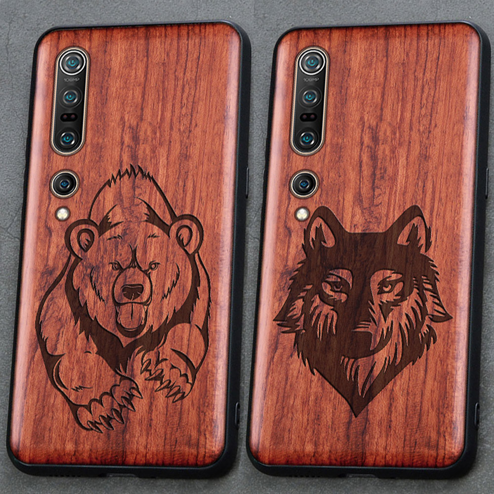 3D Carved Wood Cartoon Bear Case For Xiaomi Mi 10 Pro Mi10 Pro Ultra Dragon Lion Wolf Tiger Tree wooden carve Cover(China)