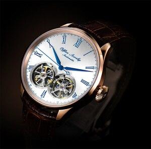 Image 5 - Marka adı çift volan otomatik mekanik saatler safir kristal 3ATM kemer iş moda volan erkek kol saati