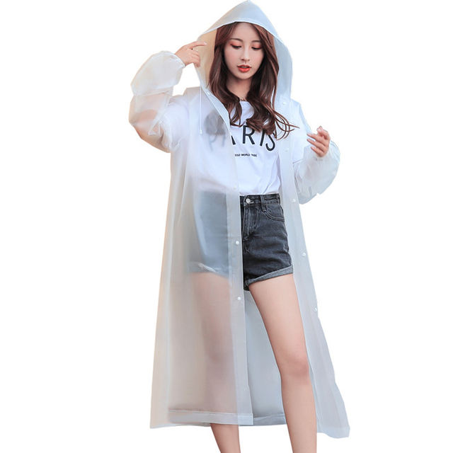 Rain Coat EVA Rain Poncho for Women and Men Emergency Rain Gear Jacket for Theme Park Hiking Camping CLH@8 4